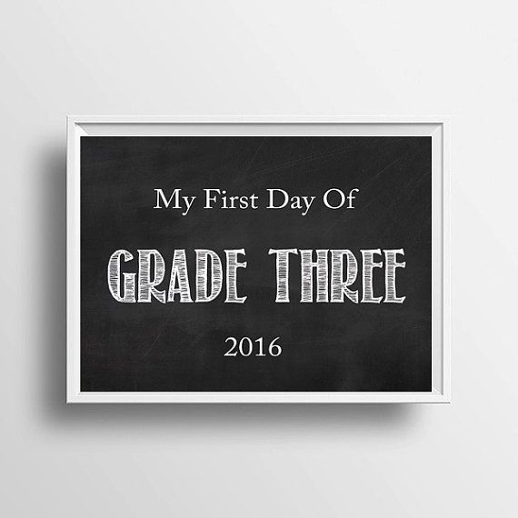 My First Day of Grade Three 2016 Digital by LittleLovesPrintShop