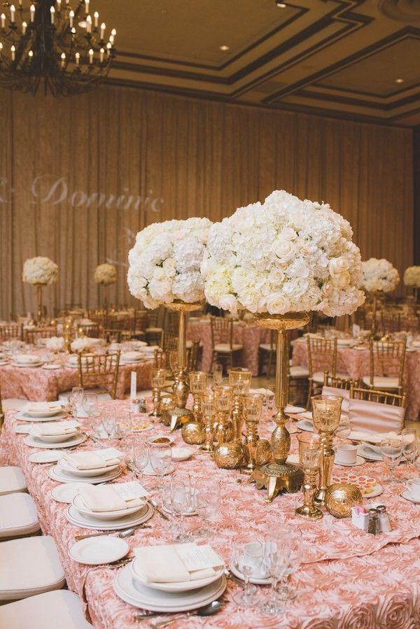 Glamorous golden table decor & white floral arrangements | Image by Nikki Mills