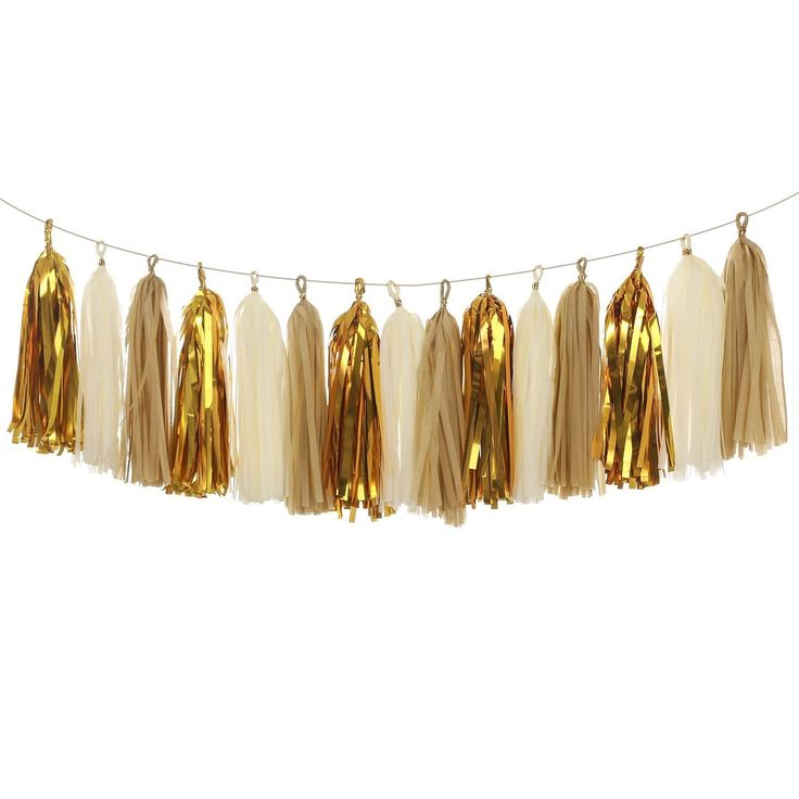 olyclass 15PCS Tissue Paper Tassel Garland DIY Kits, Mixed 3 Colors(Kraft Ivory Metallic Gold) *** Click image for more details.