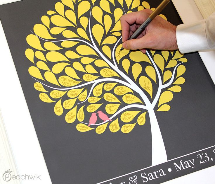 Wedding Guest Book Alternative - yellow leaves, light gray ...