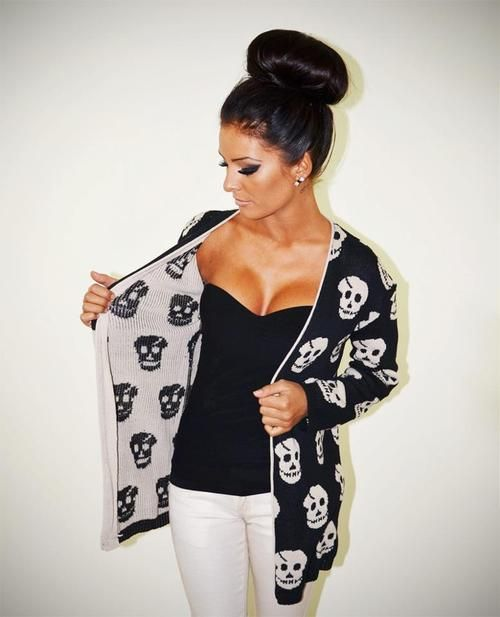 Skull cardigan rockabilly punk goth casual style outfit… WHERE DO I FIND THIS?