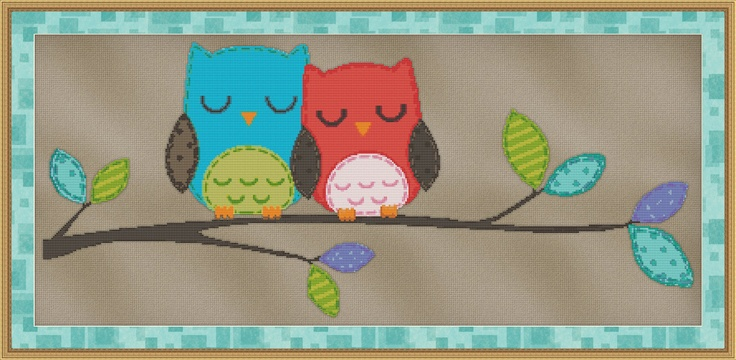 Love Birds Owls Counted Cross Stitch Pattern - Cute Bird Design - Emailed to You - PDF. $2.95, via Etsy.