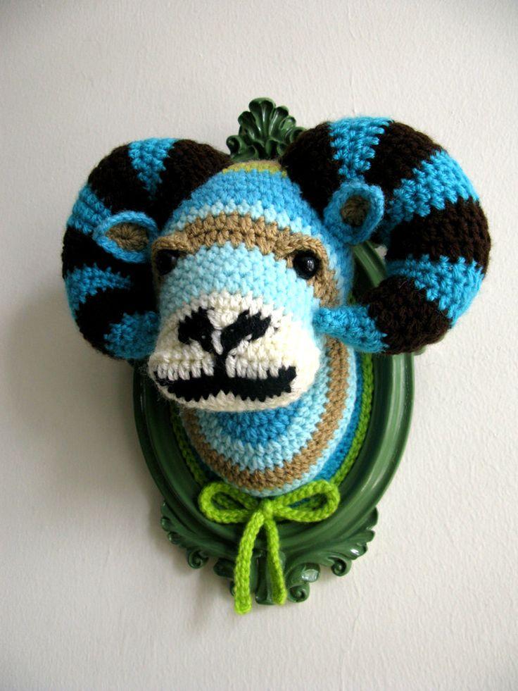 Crochet ram head in a sage-green frame. ₪450.00, via Etsy.