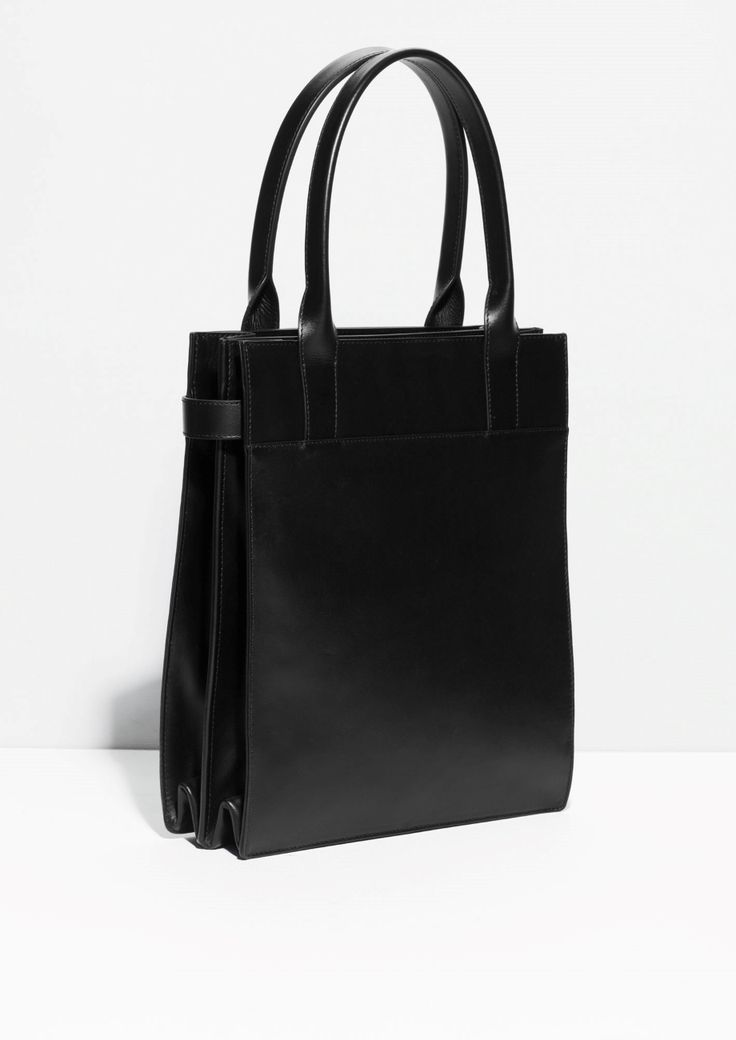 Structured Leather Tote | Black | Leather totes, Leather ...