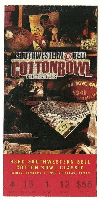 1999 Cotton Bowl Game Ticket Stub Texas Mississippi State....if you like this you can find many more college bowl game tickets for sale at www.everythingcollectibles.biz