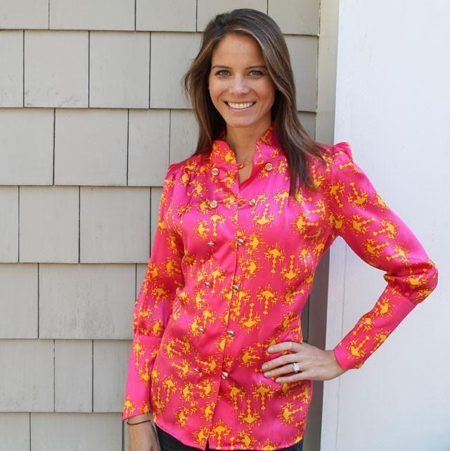 Long Sleeve Worth It Blouse in Orange Chandelier Silk Charmuse by Lissa Mar - FINAL SALE