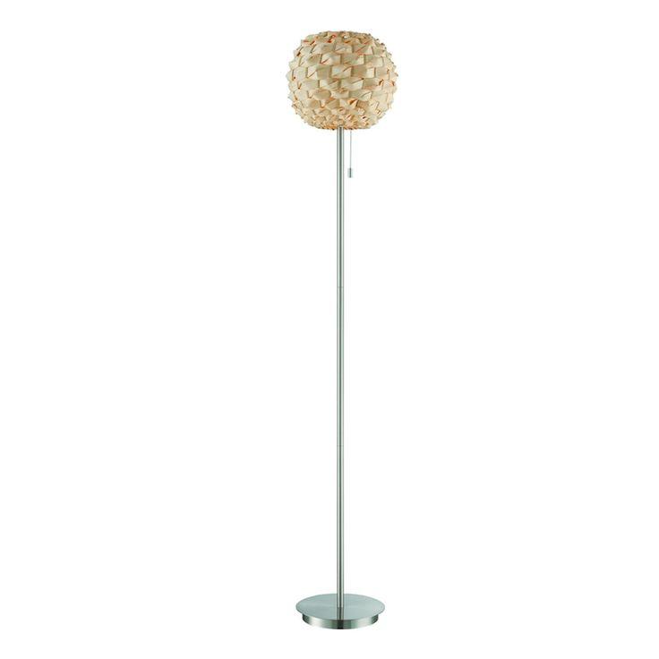 Urchin Rattan Floor Lamp POLISHED STEEL
