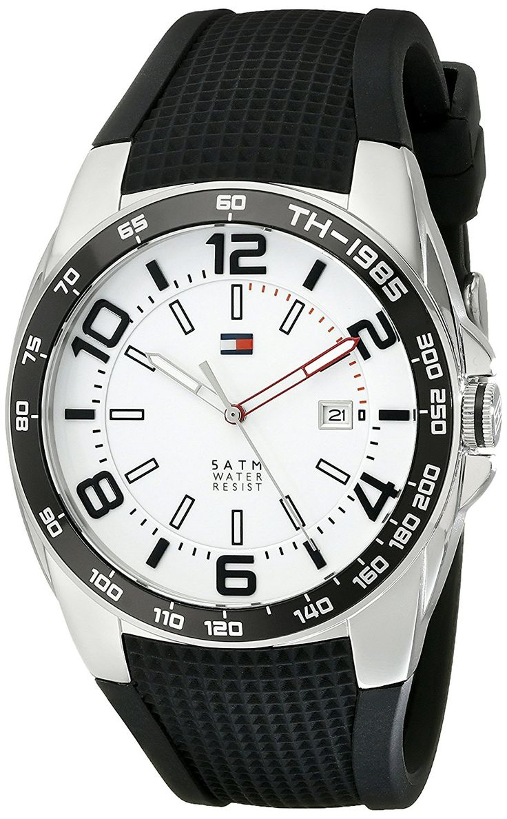 Tommy Hilfiger Men's 1790884 Sport Stainless Steel Watch With Black Silicon Band -- Check out the watch by visiting the link.