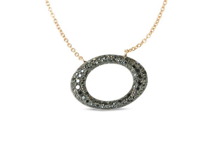 18 ct rose gold pavé set black diamond oval necklace