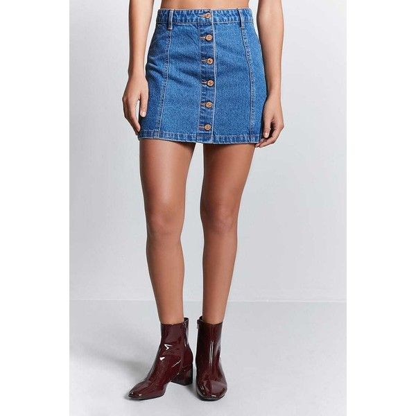 Forever21 Button-Front Denim Skirt ($13) ❤ liked on Polyvore featuring skirts, a-line denim skirts, full length denim skirt, forever 21, button front denim skirt and full length skirt