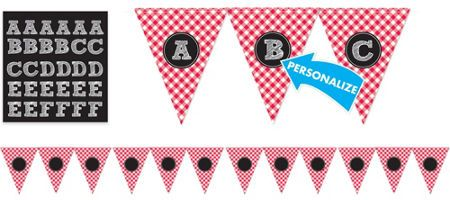 Picnic Party Red Gingham Personalized Pennant Banner - Party City