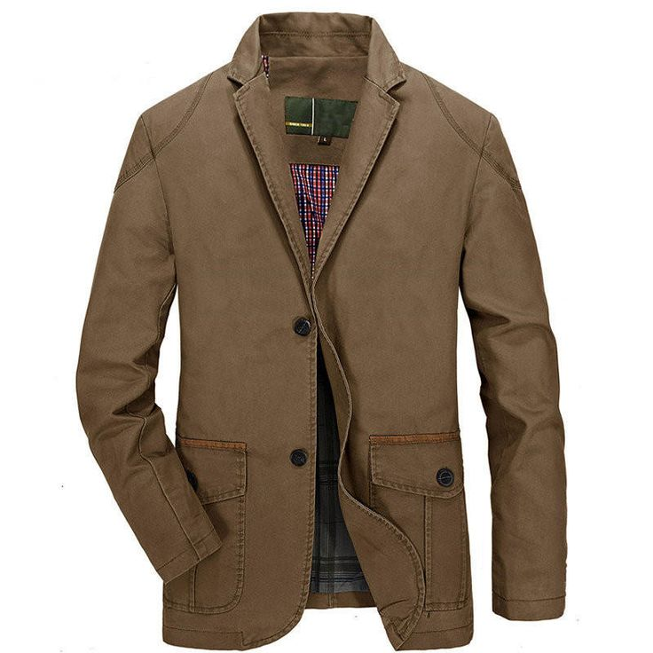 Men's Spring Fall Cotton Blend Casual Buttons Jacket Coat Suit Outwear at Banggood