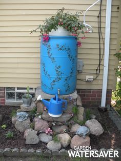 Need to decorate our ugly rain barrels. Thinking of matching the shutters. Need to repaint the shutters too