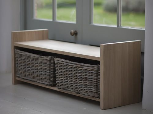 versatile oxford raw oak storage bench with 2 large rattan baskets ideal for a hallway utility or foyer feather filled and fibre seat pad also available