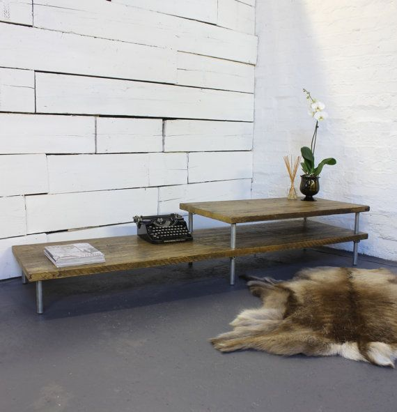 Oak Stained Reclaimed Scaffolding Boards layered Height Coffee Table with Galvanised Steel Pipe Legs - Bespoke Furniture by Inspirit Deco