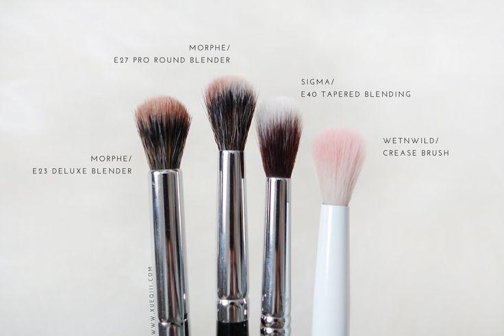 Morphe Elite E23 Deluxe Blender, E27 Pro Round Blender, Sigma E40 Tapered Blending, Wet n Wild Crease Brush