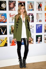 Cara Delvingne in Burberry Leather pants Olive jacket
