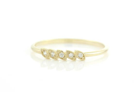 Leaf Ring Diamond Band Diamond Stacking Ring Branch Ring