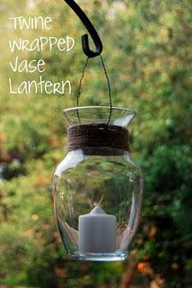 Old vase + twine + hanging wire = nifty candle lantern.