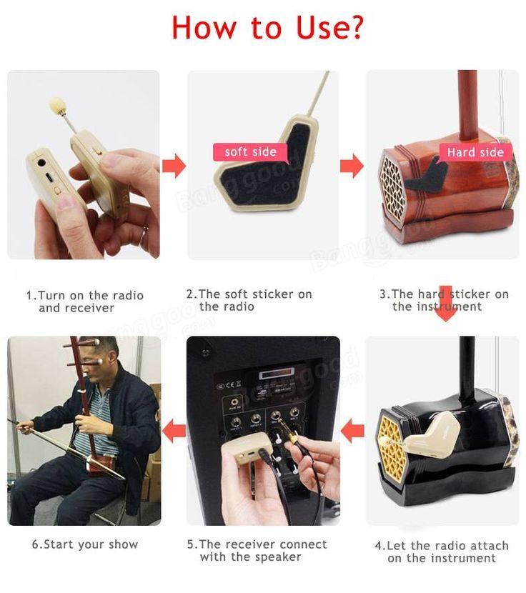 Wireless Instrument Eletronic Pickup Microphone for Violin Guitar Guzheng Zither Erhu
