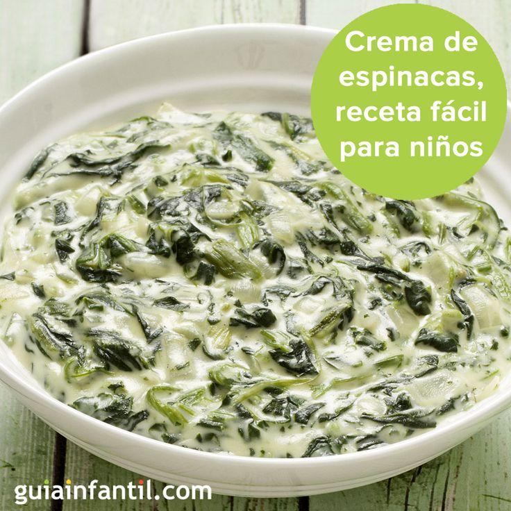 Crema de espinacas, una forma divertida de que los niños coman verdura. http://www.guiainfantil.com/recetas/verduras/asadas-a-la-plancha-y-salteadas/espinacas-a-la-crema-receta-con-verduras-para-ninos/
