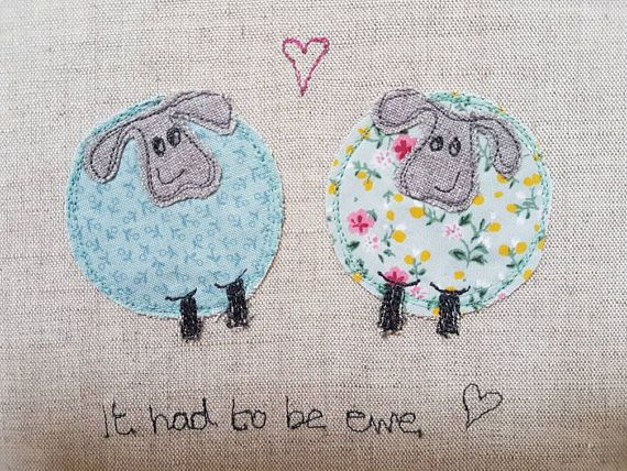 Original textile art sheep sheep picture applique art