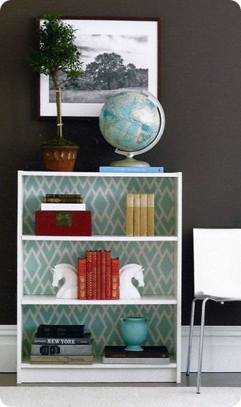 Well Styled Bookcase...It Starts at the Back. Simple inexpensive bookcases become stunners when their backs are dressed up with paint, fabric or wallpaper. Eddie's Billy Bookcase was brought to life with a pattern that accentuates the balanced display of books and collectibles.