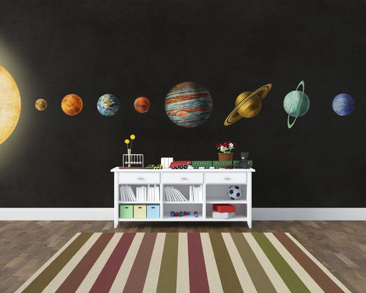 'Solar System' (Wall Mural). Product Code: MM0244M.  #wallpaper #wallmurals #design #children #dreamy #illustration #terryfan #solarsystem #space #earth #saturn #neptune #pluto