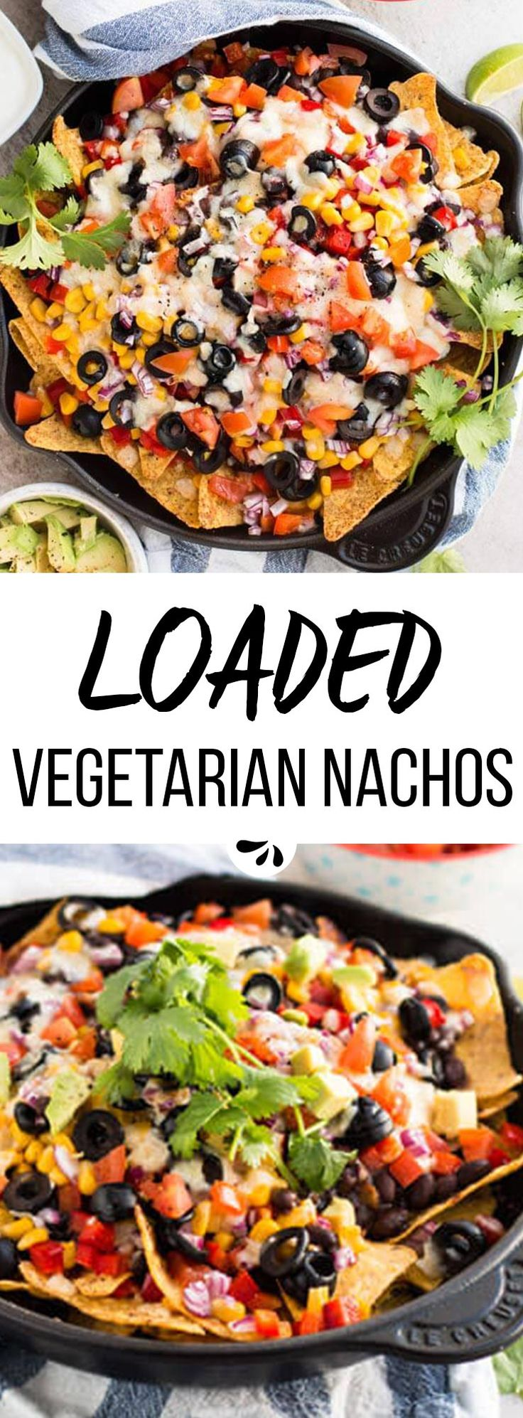This loaded vegetarian nacho recipe has it all: The best Southwestern/Mexican flavors from black beans in chili sauce, cheese, olives, corn, tomatoes, sweet peppers and cilantro! They are quick and easy to make, baked in a skillet in the oven, full of healthy vegetables and great to feed a crowd at summer parties, on football sunday or for super bowl. Serve with a light dip and some fresh avocado!