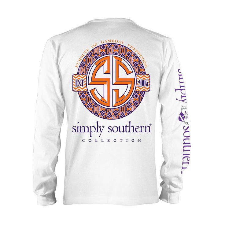 Simply Southern Clemson Game Prep Longsleeve T Shirt White