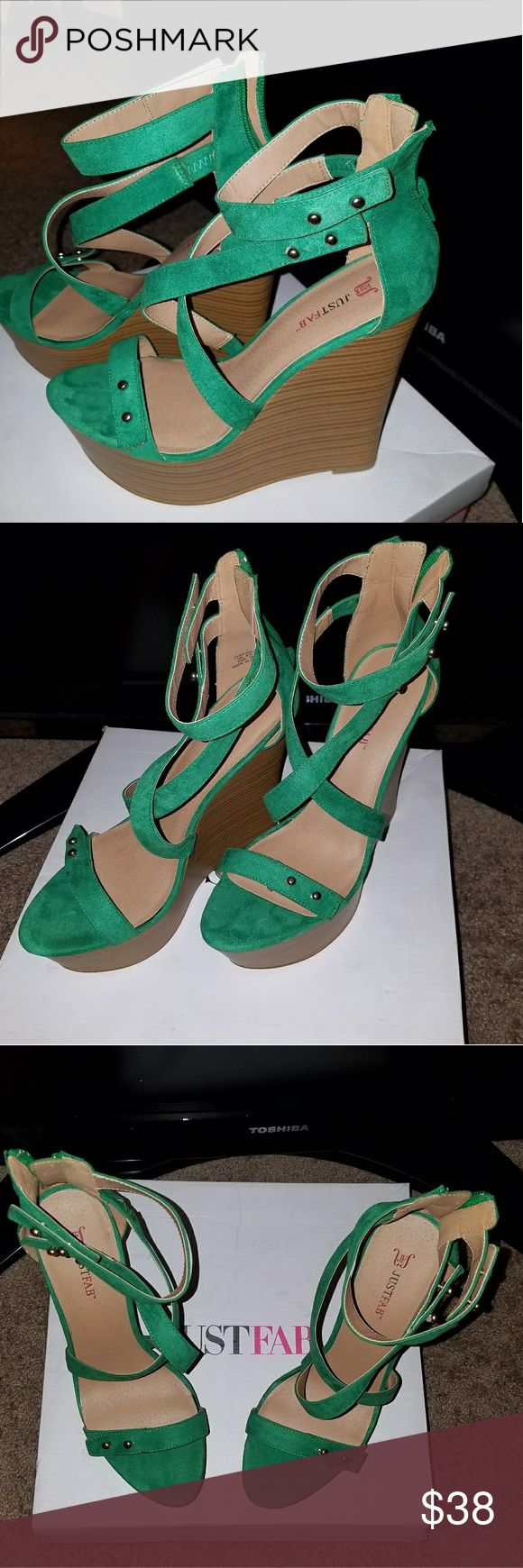 NWT JustFab Clarysa Green Wedge JustFab green wedge nwt JustFab Shoes Wedges
