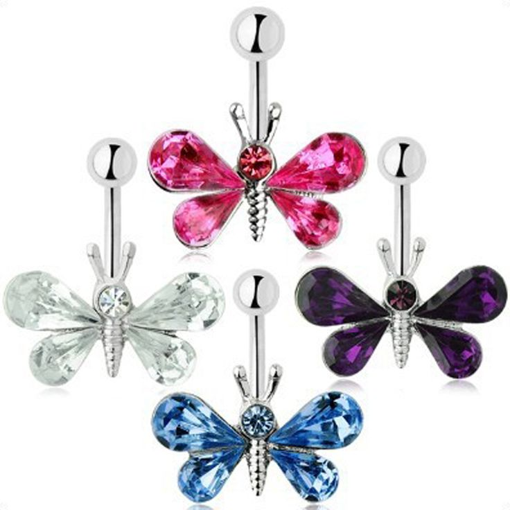 Charming Body Piercing Jewelry Medical Steel Umbilical Butterfly Shaped Nail Belly Button Ring 4 Colors Body-0117