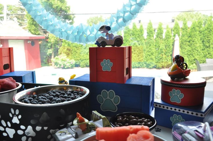 Snack Table from a Paw Patrol Birthday Party #pawpatrol #snacktable #pawpatrolideas