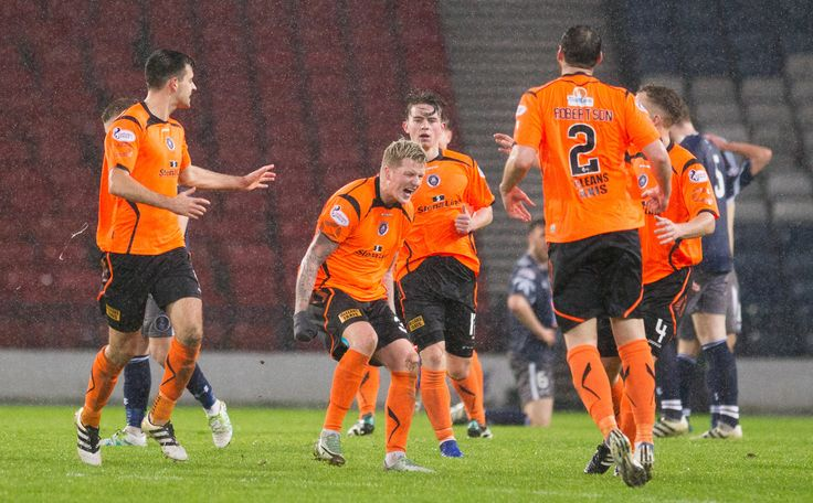 Stranraer's Willie Gibson celebrates his goal during the Ladbrokes League One game between Queen's Park and Stranraer.