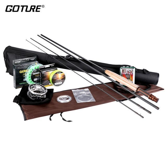 Goture Fly Fishing Reel Rod Set with Fly Line Lures Bag Full Kit 5/6 7/8 Fly Reel Rod Combo Fishing Accessories http://ali.pub/274u4v