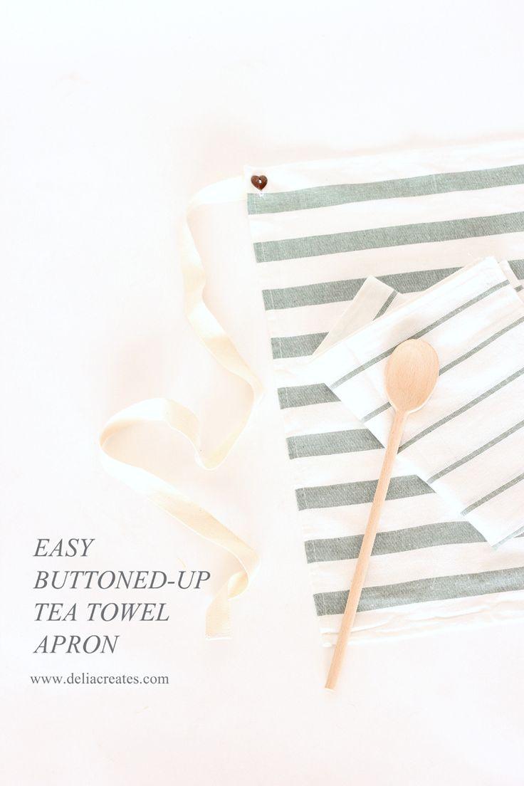 White frilly apron nz - Easy Buttoned Up Tea Towel Apron Tutorial Delia Creates