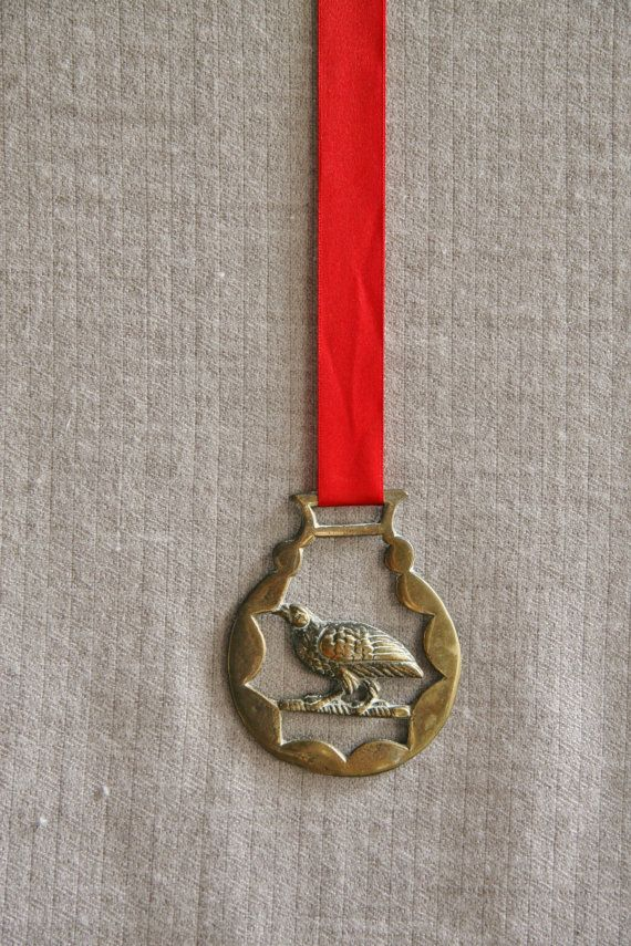 Vintage Partridge Brass Medal Christmas Ornament by FoundByHer