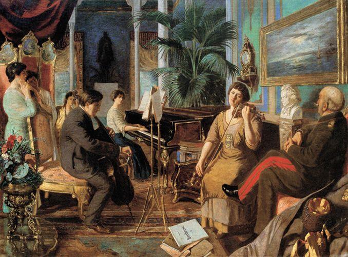 """Abdülmecid Osmanoğlu'nun """"Haremde Beethoven"""" isimli eseri, 20-21. yy.  #painting #artwork #abdülmecidosmanoğlu #art  #resim #yağlıboya #fineart #sanat #ressam #painter #ottoman"""