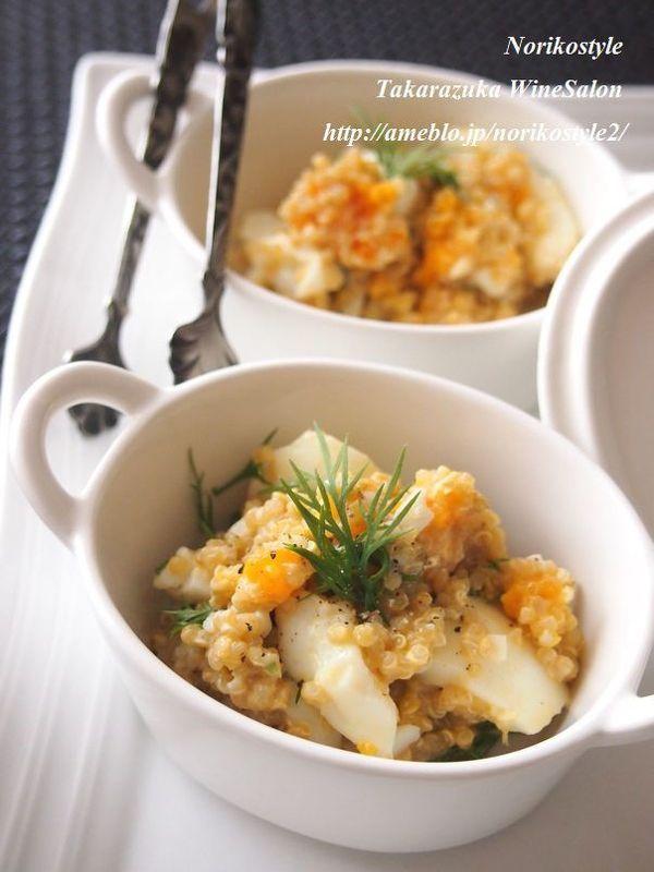 ゆで卵とキヌアのクリーミージンジャーサラダ