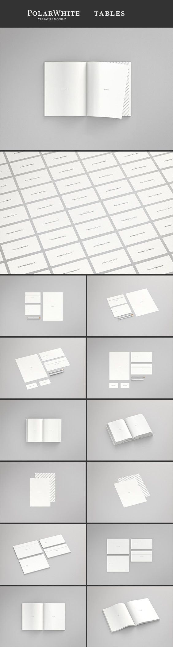PolarWhite Tables by JHåland is a MockUp collection for Photoshop CS6+  The package contains two C5, DL envelope & A4 paper, two A4, Business card, DL envelope, pen & pensil, two Open book, two A4 paper, two C5, DL envelope, three Open Magazine and a Business card layout.  There's also wireframes for every scene for precision work.