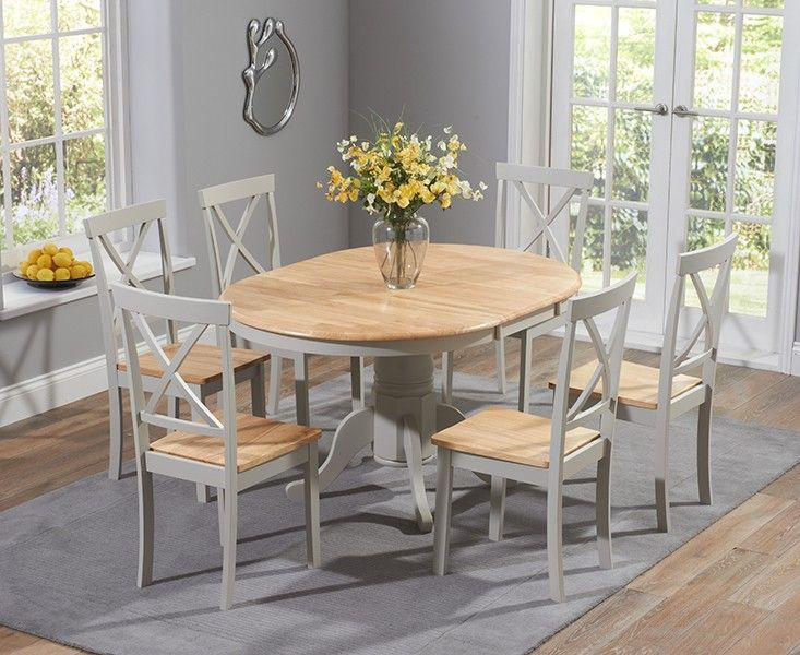 Buy the Epsom Oak and Grey Pedestal Extending Dining Set with Chairs  at Oak Furniture Superstore