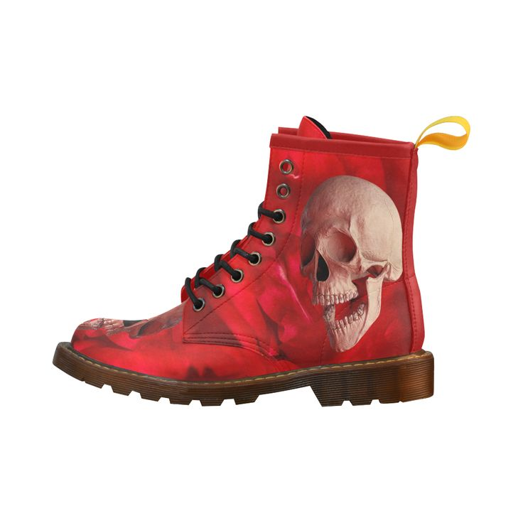 Funny Skull and Rose Leather Martin Boots For Men #erikakaisersot #artsadd #boots