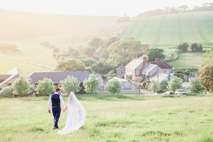 Sunset couple portraits at Upwaltham Barns, UK wedding photography