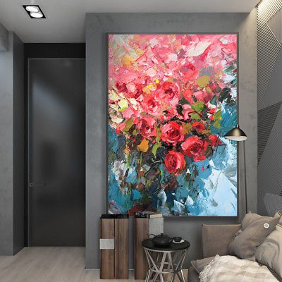 Modern Hand Painted Abstract Rose Flower Oil Painting Art Home Decor On Canvas