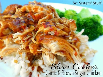 Slow Cooker Garlic and Brown Sugar Chicken- so easy to throw together! This is one of my kids' favorites. - Click image to find more Food & Drink Pinterest pins