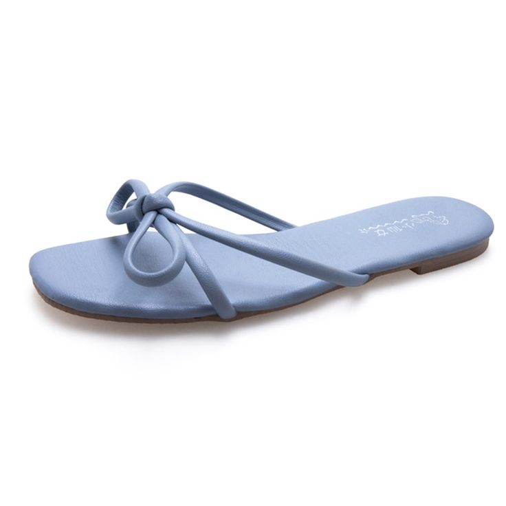 Slippers Women Sandals Summer Shoes Flat Blue Red Bow Sandal Women Flip flop Beach Sandal Female Shoes Woman sandales femme 2019