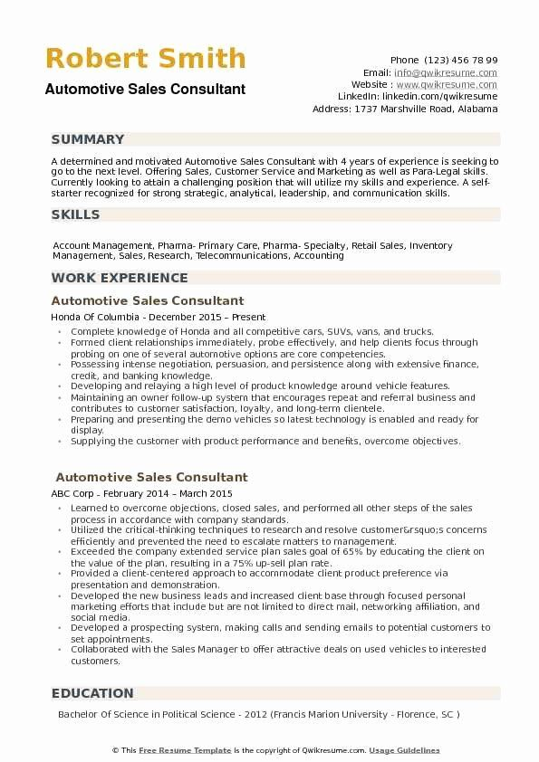 Car Sales Resume Examples Unique Automotive Sales Consultant Resume Samples Sales Resume Examples Teacher Resume Job Resume Examples