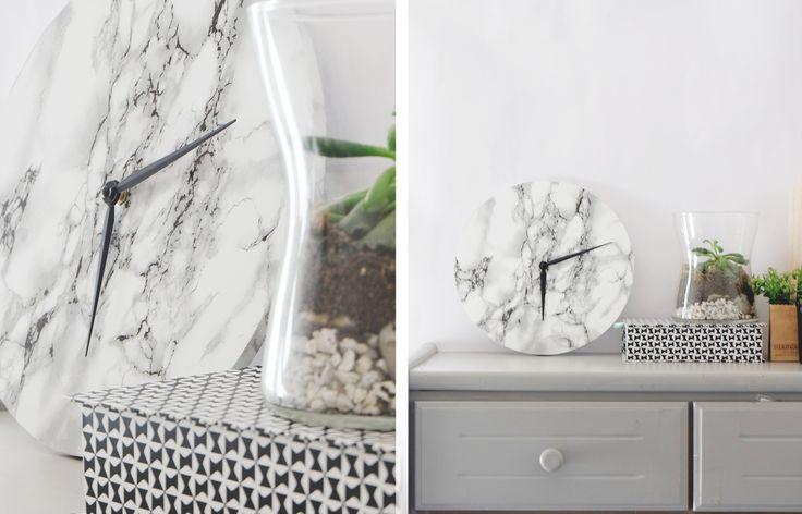 marble clock, diy, horloge en marbre