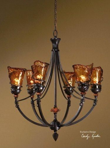 uttermost vitalia 6light chandelier oil rubbed bronze metal