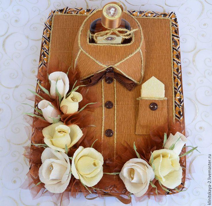 Купить Букет, композиция из конфет с коньяком в подарок мужчине - торт из конфет, сладкий подарок